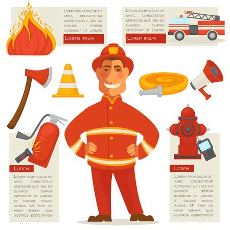 Fireman Isolated and Special Objects Set around