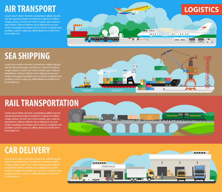 mode: Logistics and shipping types infographics template banners