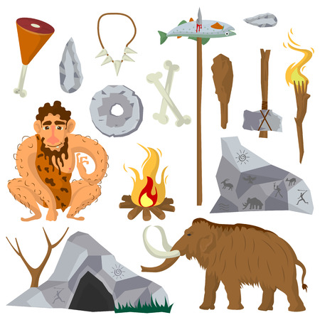 Stone age or Neanderthal icons and characters set Illustration