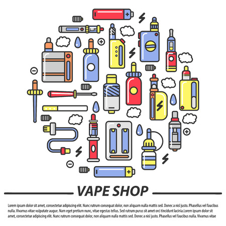 vaporizer: Vape shop and electronic cigarettes vector poster