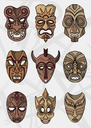 caretas teatro: Madera de teatro étnica o ceremonial iconos máscaras vectoriales Vectores