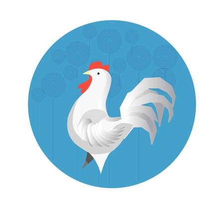 year of the snake: Chinese zodiac sign Rooster vector horoscope icon or symbol Illustration