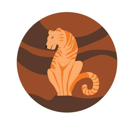 Chinese zodiac sign Tiger vector horoscope icon or symbol Ilustrace