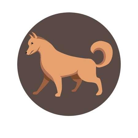 dog: Chinese zodiac sign Dog vector horoscope icon or symbol