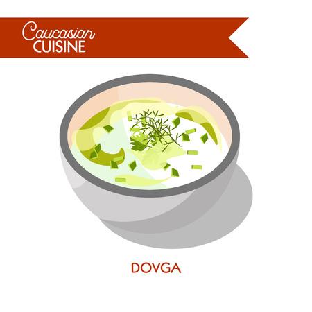 Dovga soup Caucasian Azerbaijani cuisine vector flat icon Иллюстрация