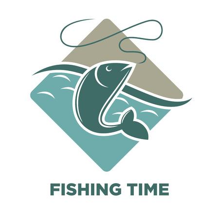 Angeln Zeit Symbol der Fisch Fang Vektor Vorlage