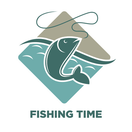 Fishing time icon of fish catch vector template
