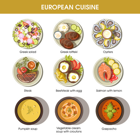 European cuisine food dishes for menu vector templates