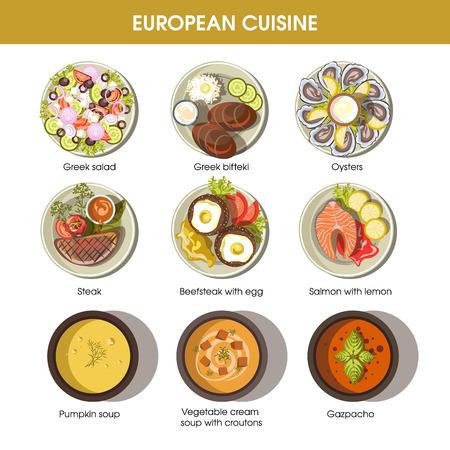 Europese keuken voedsel gerechten voor menu vector sjablonen