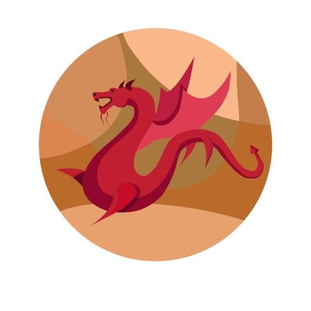 Chinese zodiac sign Dragon vector horoscope icon or symbol Illustration