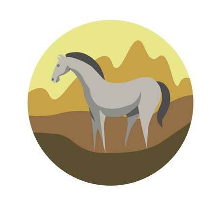 Chinese zodiac sign Horse vector horoscope icon or symbol