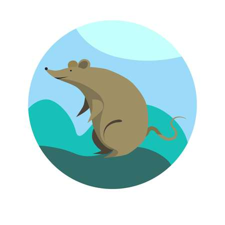 Chinese zodiac sign Rat vector horoscope icon or symbol