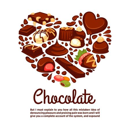 Chocolate heart vector poster template of candy desserts