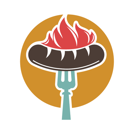 Barbecue or grill sausage ector icon