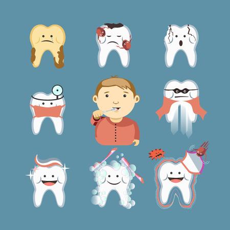 enjuague bucal: enfermedades de los dientes de dibujos animados y vector de niño cepillarse los dientes