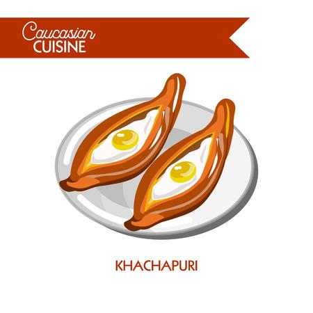 plate: Khachapuri Caucasian Georgian cuisine vector flat icon