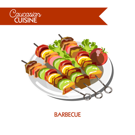 Barbecue meat shashlik Caucasian cuisine vector flat icon Illustration