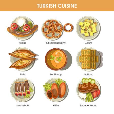 Turkish food cuisine vector icons for restaurant menu Vektorové ilustrace