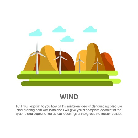 Wind power station windmill energy vector flat illustration