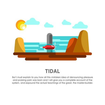 Tidal power station tide mill energy vector flat illustration