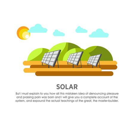 Solar power plant sunlight panel vector flat illustration Illustration