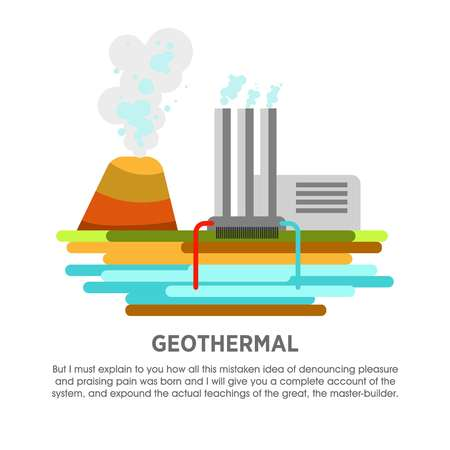Geothermal power station earth thermal heat energy vector flat illustration