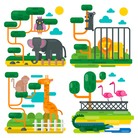 aviary: Zoo animals and birds cartoon vector flat illustration. Elephant, crocodile, monkey, koala and parrot on tree, giraffe, flamingo and lion in zoological garden or park. Mosaic or applique style