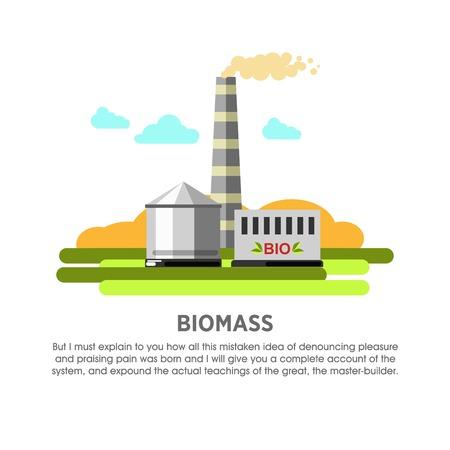 Biomass power station organic matter energy vector flat illustration Vectores