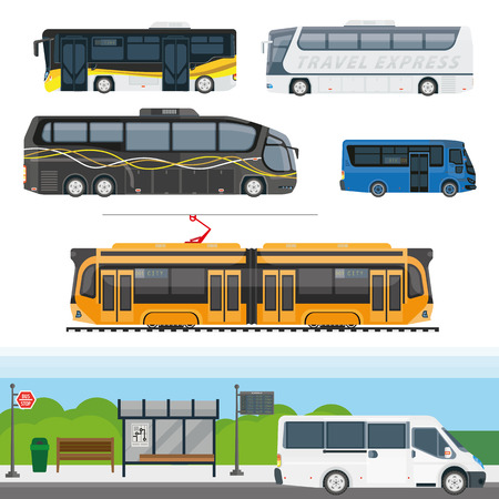 intercity: Passenger public transport and travel transportation vehicles vector icons. Isolated city bus on stop station, tram, intercity tourist trip coach, and express van