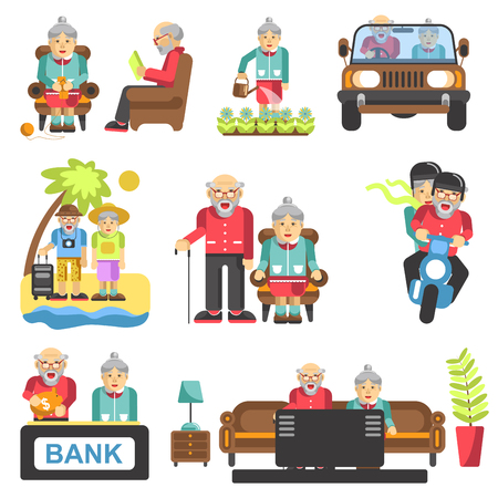 age old: Older people life style vector flat icons and life adventure and pleasure enjoyment. Grandfather and grandmother couple on travel, at home and garden Illustration
