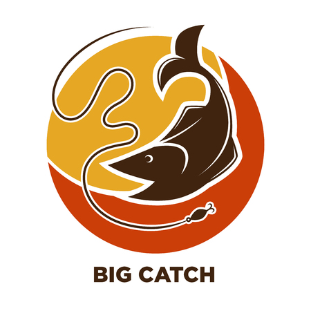 Fishing icon of fish catch on hook vector template Illustration