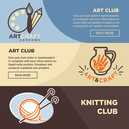 hand made: Knitting, pottery and artist painter club vector banners templates