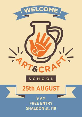 hand made: Art and craft school studio welcome poster vector template Illustration