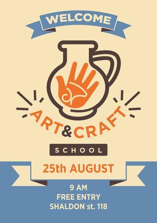 ceramiki: Sztuka i rzemiosło studio szkoła wektor plakat z szablonu Ilustracja