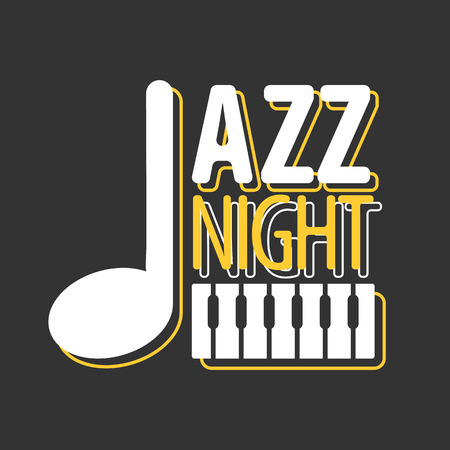 stave: Jazz night musical poster vector template Illustration