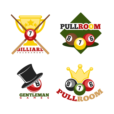 cue ball: Pool or billiards vector icons set