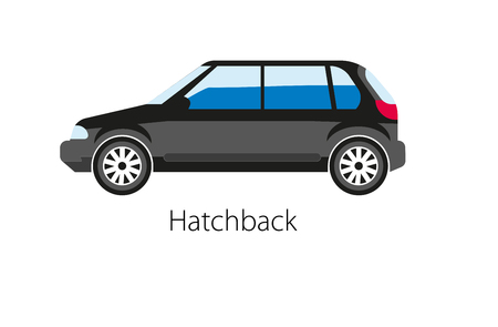 auto service: Hatchback automobile isolated on white. Realistic vector illustration Illustration