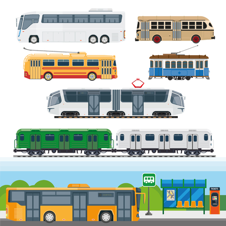 trackless: Types of buses, minibuses, railroad trains, trolleybuses, trackless tram vector Illustration