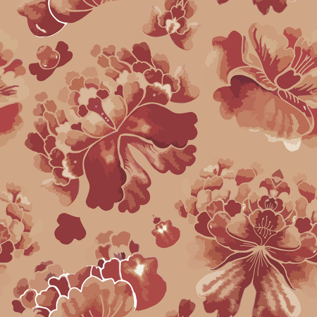 vintage patterns: Seamless chinese pattern. Watercolor style wallpaper with floral ornament .