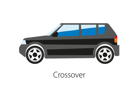 crossover: Crossover utility vehicle CUV vector illustration of black car model