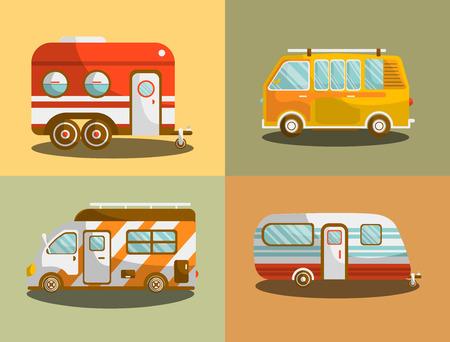 motor de carro: Acampar autobús o camioneta van ilustración vectorial Vectores