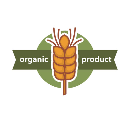 produits céréaliers: Wheat organic product logo design in center of round button
