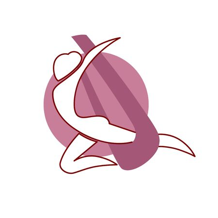 Fly yoga logo design isolated. Professional air gymnastics emblem Illustration