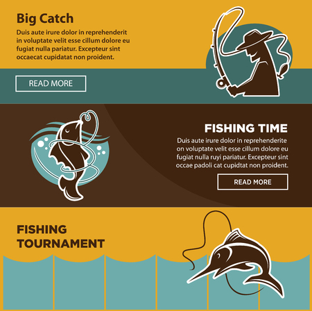 Fishing tournament time for big catch colorful poster