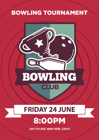 adress: Invitation poster with bowling club logo emblem isolated