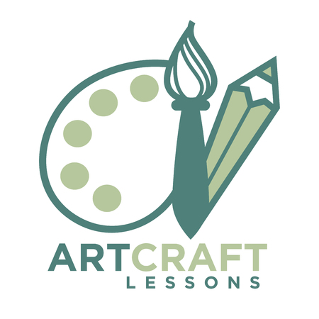Artcraft logo emblem with pencil and brush with palette