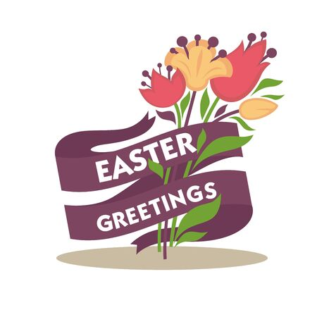 greeting season: Easter greetings conceptual banner. Spring flowers decorated with purple tape