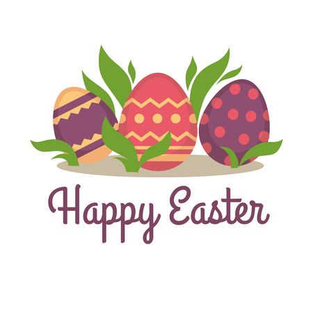 Happy easter greeting card design. Decorated holiday eggs and leaves