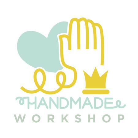 Hand from thread near blue heart logo emblem Illustration