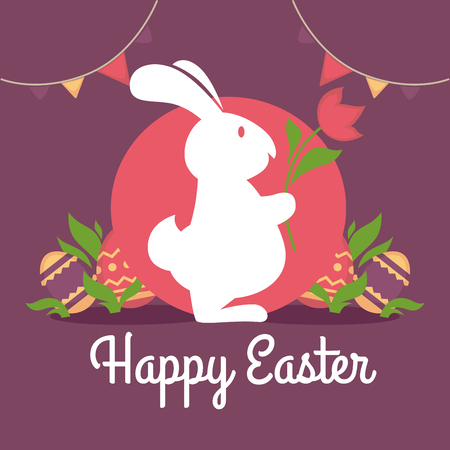 Happy easter greeting card design. Rabbit silhouette with flower